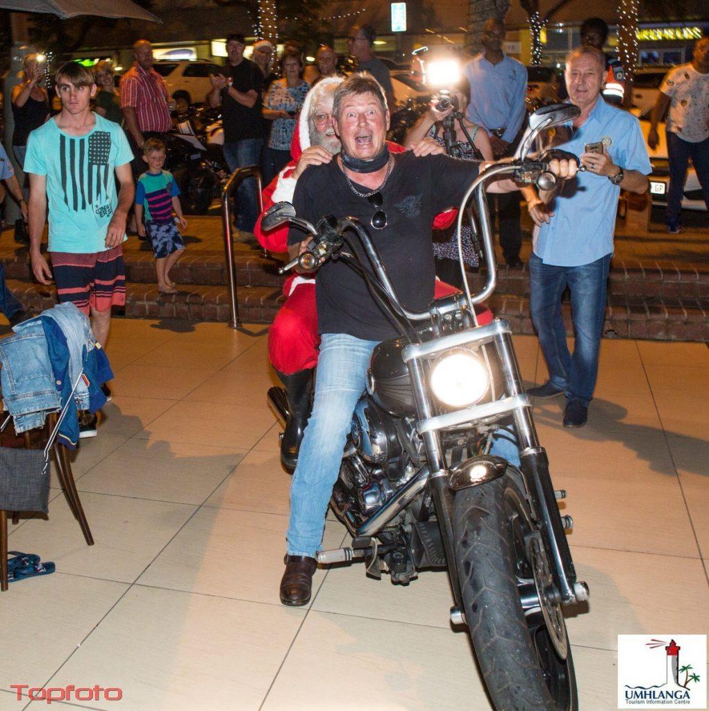 Harley rider Andre Roodt escorting Santa