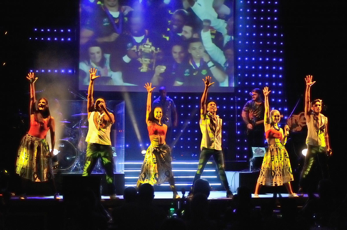 SPECIAL STARS: Marion Loudon, Granville Michaels, Savanah de Almeida, Sherwin Green, Jessica Laws and Jean Citto give it their all for the Mango Groove favourite.